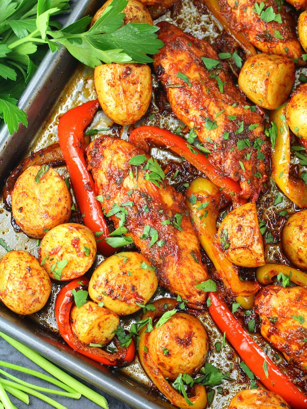Harissa Chicken Sheet Pan Dinner Recipe & Image - partial pan ot