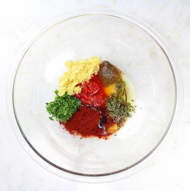 Ingredients for harissa chicken marinade