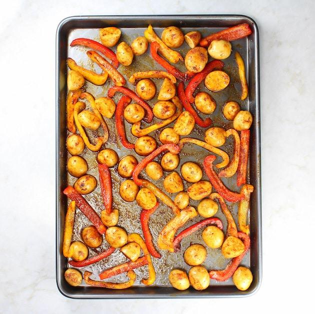 Sheet pan with seasoned vegetables