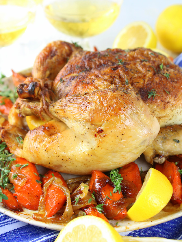 Lemon Thyme Oven Roasted Chicken Recipe & Image: Chicken on Platter eye level