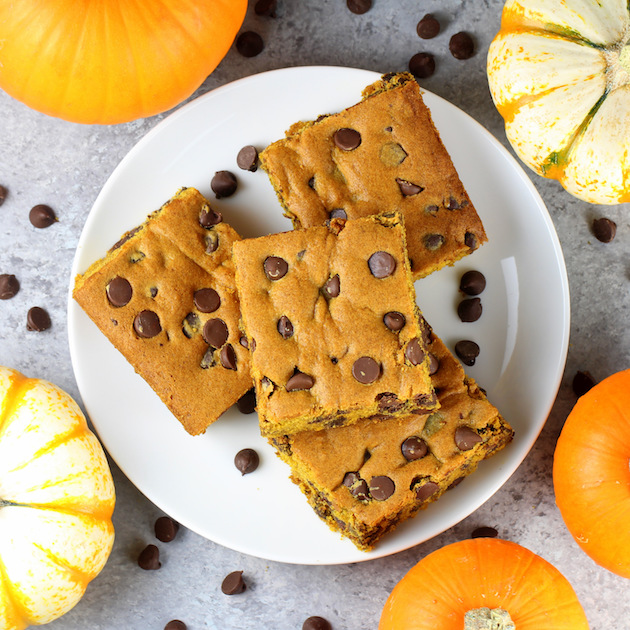 pumpkin brownie squared on a plate