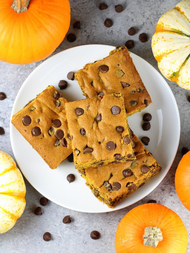 Pumpkin Chocolate Chip Brownies - on a plate