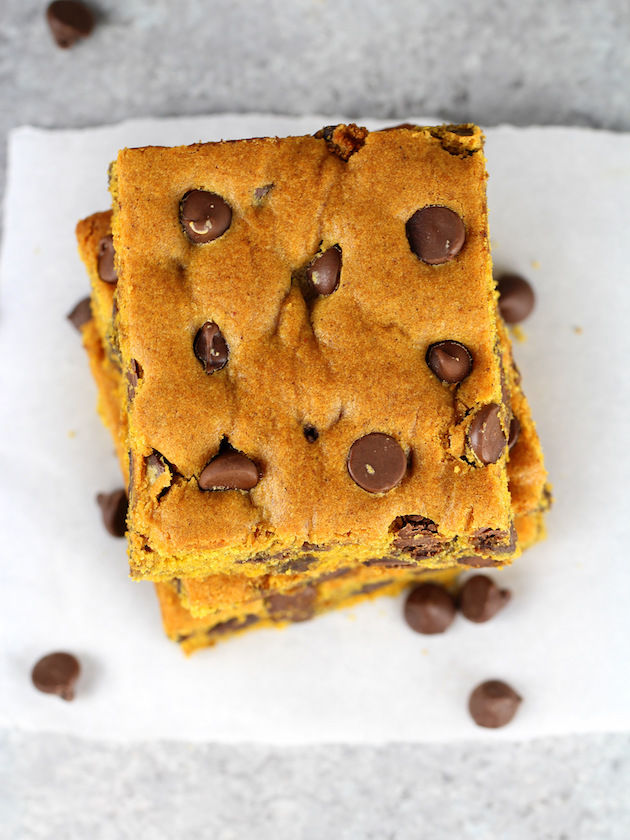 Overhead view of stacked Pumpkin Chocolate Chip Brownies