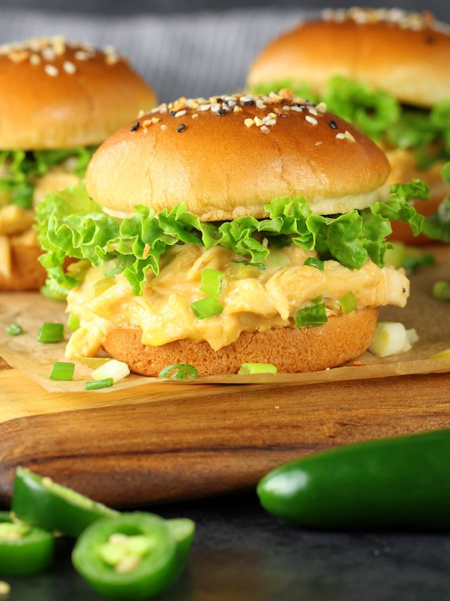 Instant Pot Jalapeño Popper Chicken Recipe & Image: EL Sliders on cutting board