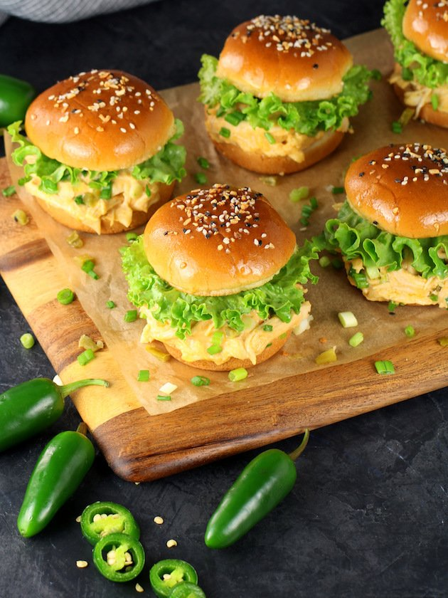 Instant Pot Jalapeño Popper Chicken Recipe & Image: Sliders on cutting board