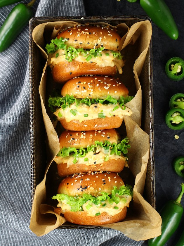 Instant Pot Jalapeño Popper Chicken Recipe & Image: Four sliders in a loaf pan