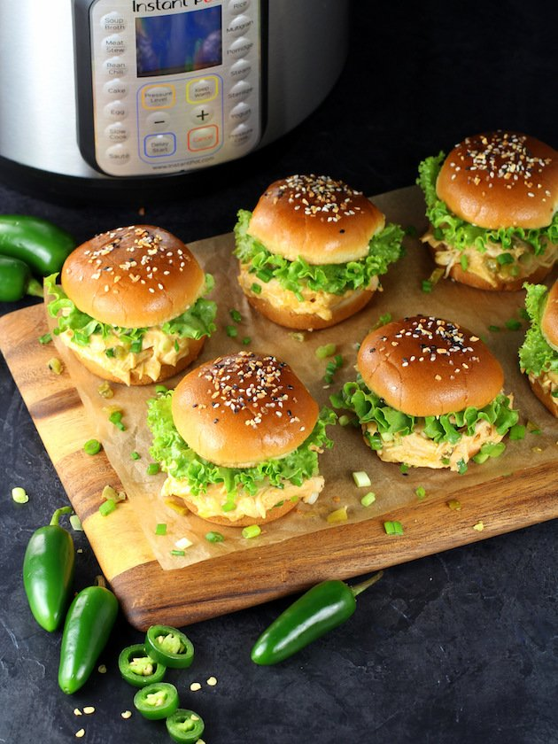 Sliders on cutting board with Instant Pot in background