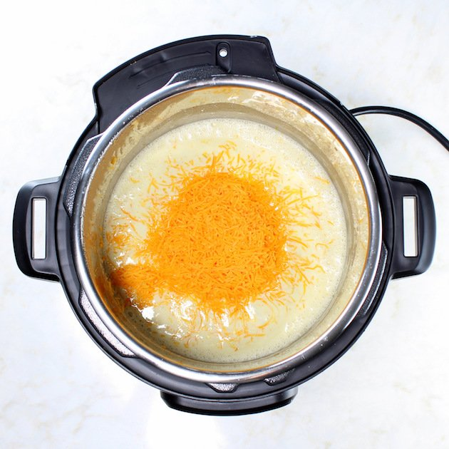 Adding cheddar to instant pot