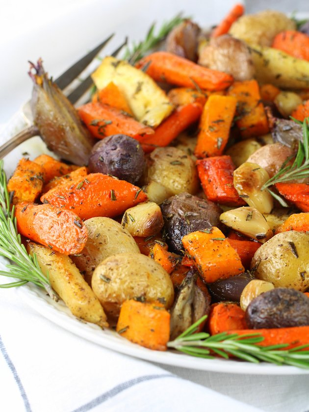 Closeup of roasted root vegetables on platter