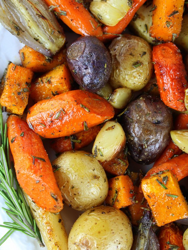 Closeup of roasted fall vegetables