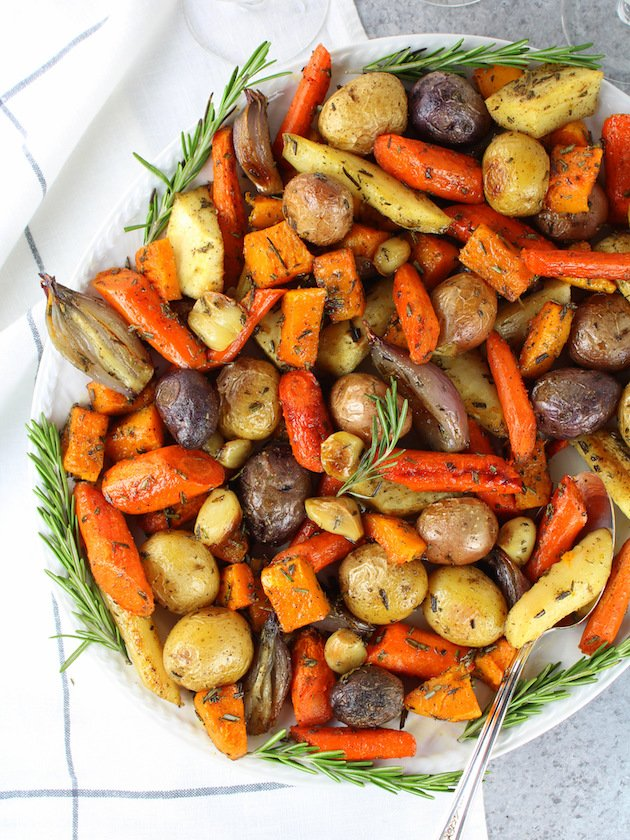 Platter of roasted root vegetables