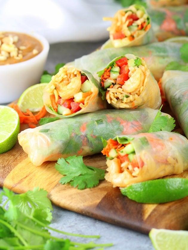 Shrimp Pad Thai Spring Rolls Recipe & Image - spring rolls on cutting board