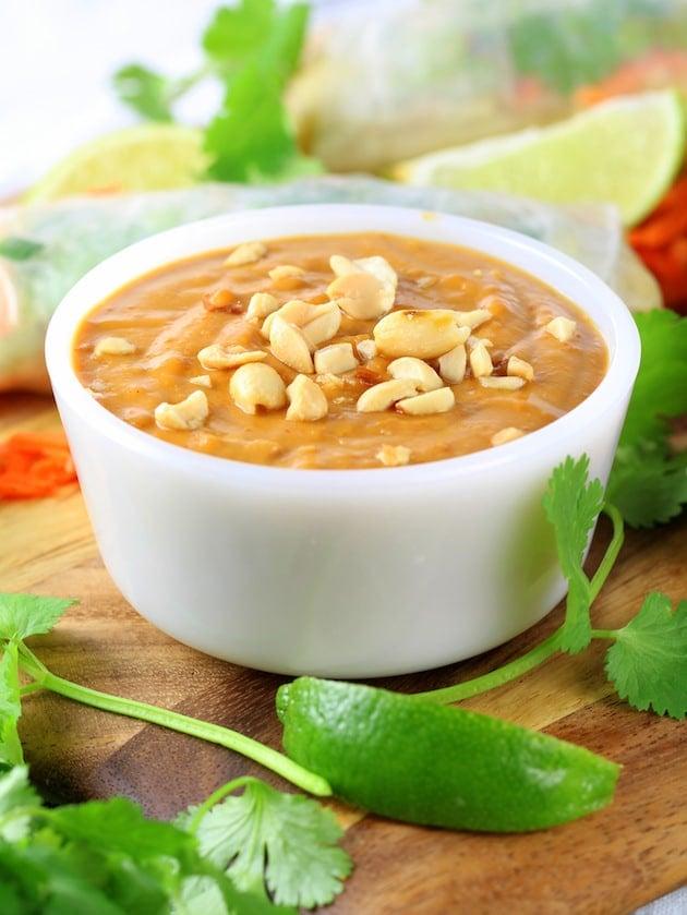 Shrimp Pad Thai Spring Rolls Recipe & Image - peanut dipping sauce