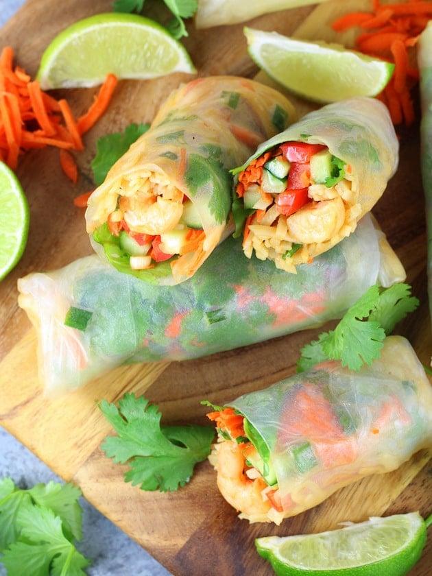 Shrimp Pad Thai Spring Rolls Recipe & Image - Spring roles up close