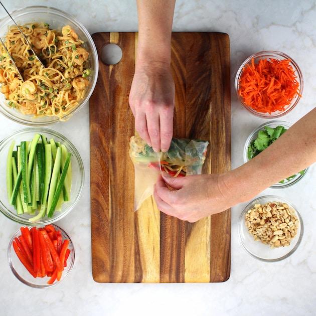 Shrimp Pad Thai Spring Rolls Recipe & Image - Rolling up thai spring rolls