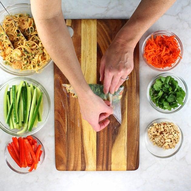 Shrimp Pad Thai Spring Rolls Recipe & Image - Rolling up spring rolls