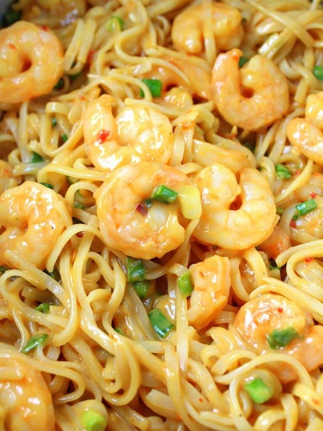 Shrimp Pad Thai Spring Rolls Recipe & Image - Shrimp and Pasta with Sauce close up