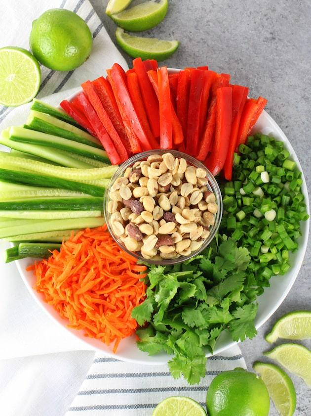 Shrimp Pad Thai Spring Rolls Recipe & Image - Ingredients on platter