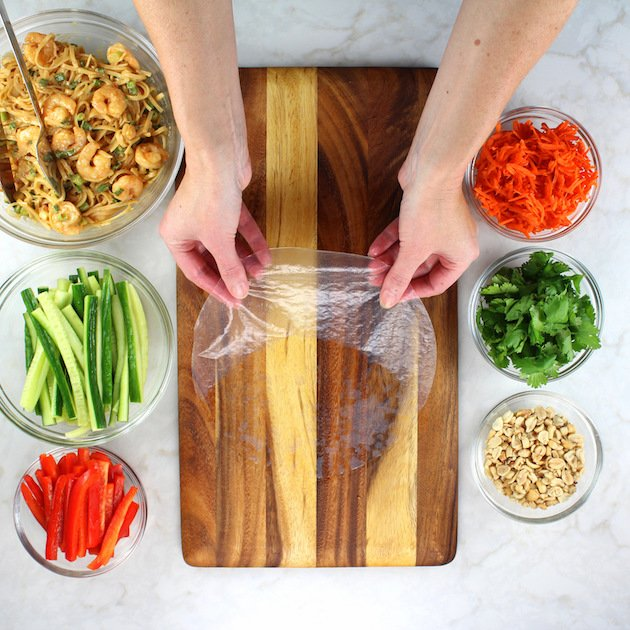 Rice Paper on cutting board with ingredients