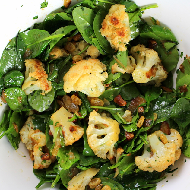 Warm Cauliflower Spinach Salad with Pancetta - Image