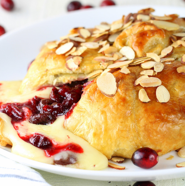Baked Brie with Fresh Cranberries and Dried Cherries