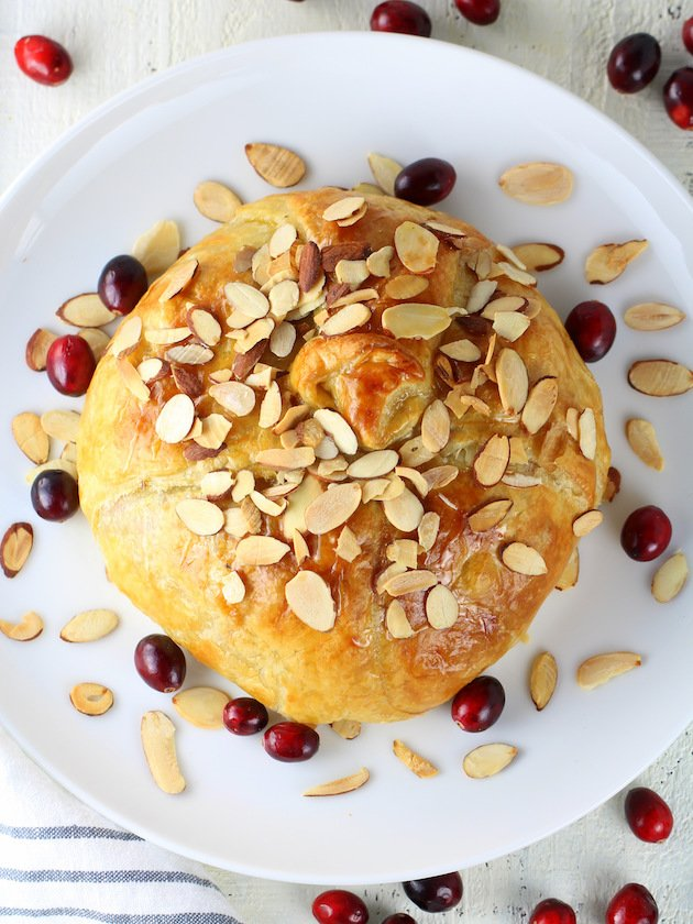 Baked Brie Recipe & Image: Fully Puff Pastry Cooked on Platter over top my favorite shot!!