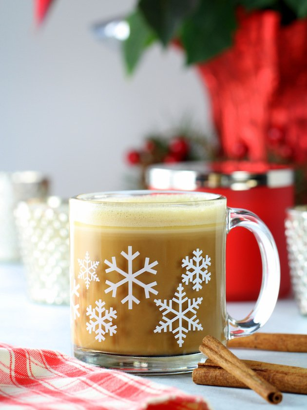 Cinnamon Keto Bulletproof Coffee Recipe - Butter Coffee eye level frothed