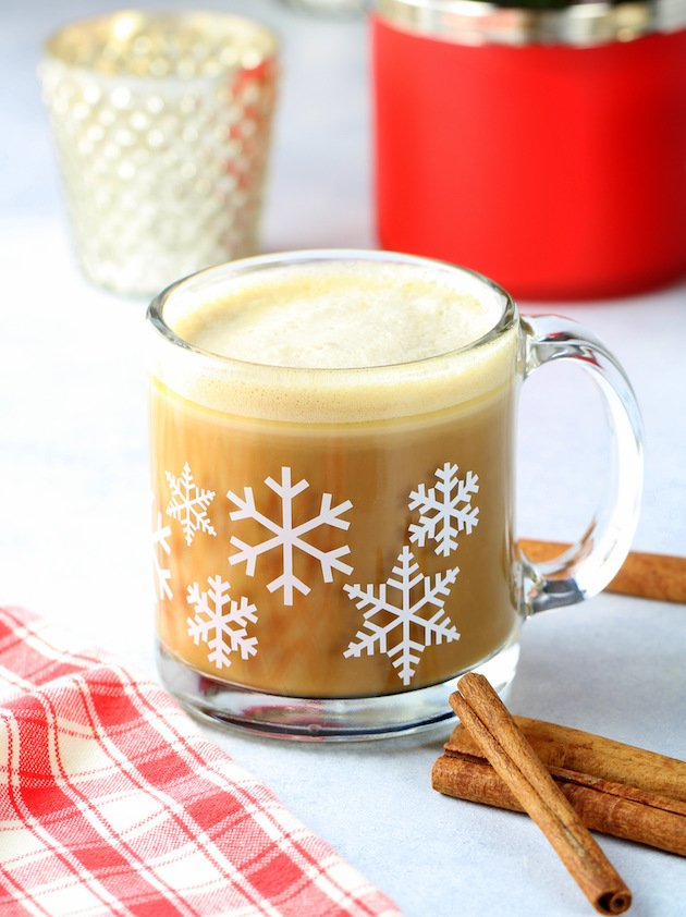 Cinnamon Keto Bulletproof Coffee Recipe - Butter Coffee up close bright