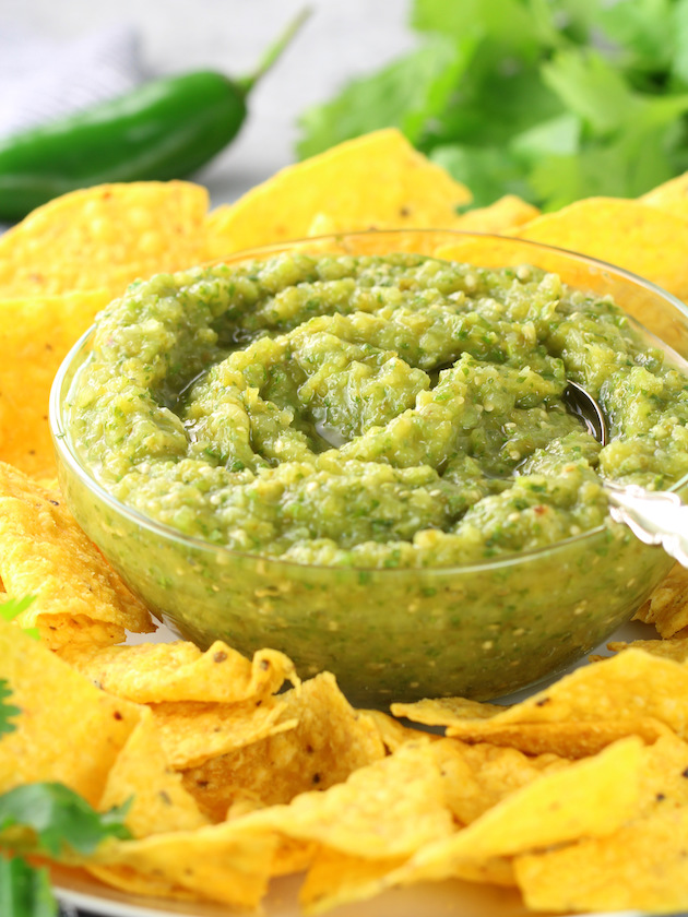 Salsa Verde Recipe & Image: Eye Level Platter of Chips and Salsa Verde