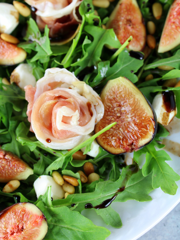 Fig Salad with Prosciutto and Mozzarella Recipe & Image: up close plate of salad.