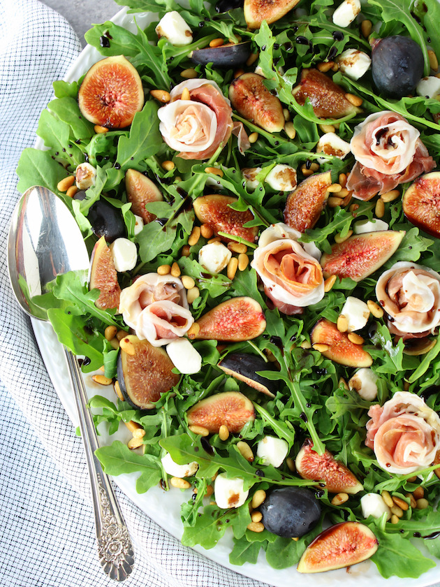 Fig Salad with Prosciutto and Mozzarella Recipe & Image: Up Close Platter of salad over top