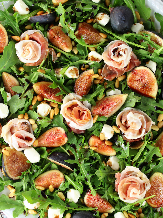 Close up of Fig Salad with Prosciutto and Mozzarella on platter.