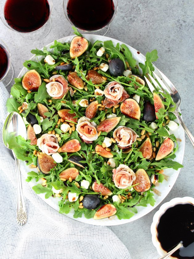 Fig Salad with Prosciutto on a platter