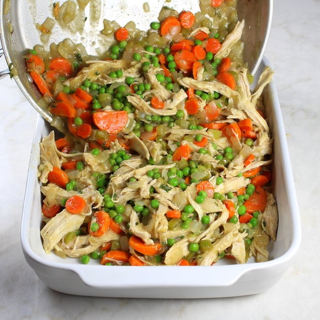 Lighter Turkey Pot Pie - Image of veggies being puree into a casserole dish