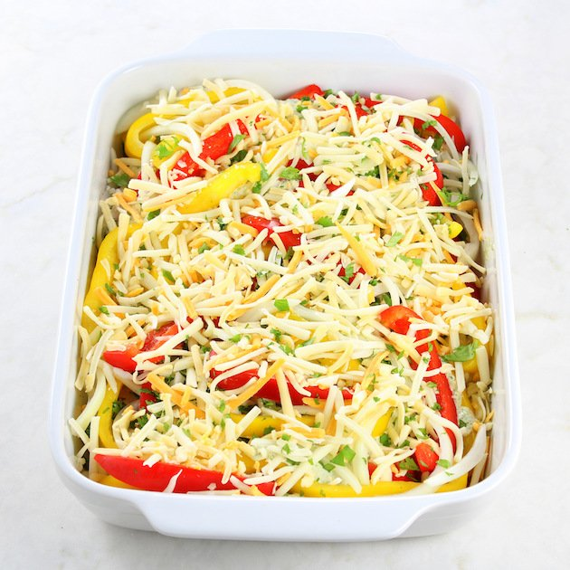 Salsa Verde Low Carb Chicken Casserole Recipe & Image - Cheese on casserole before cooking