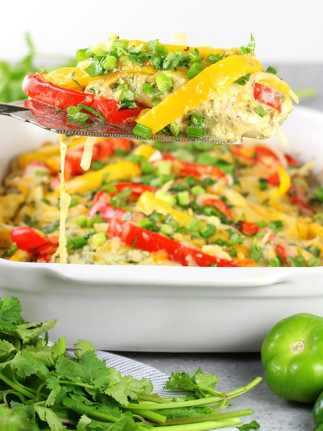 Salsa Verde Low Carb Chicken Casserole