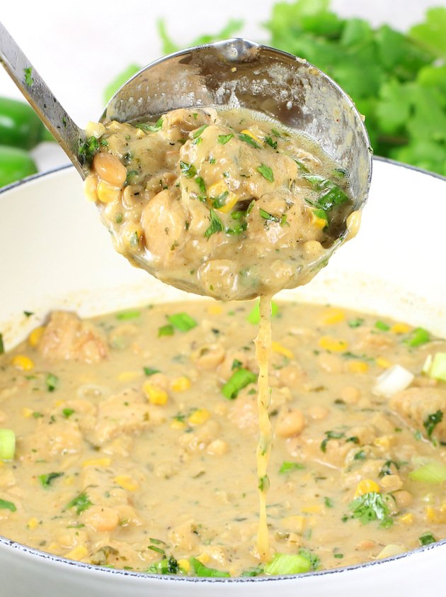 Creamy White Chicken Chili with Great Northern Beans Recipe & Image: Ladle of chili over pot