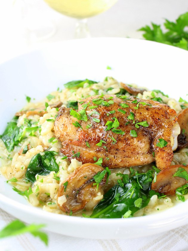 Instant Pot Chicken Thighs With Risotto - Picture & Image - Eye Level Chicken plated on risotto