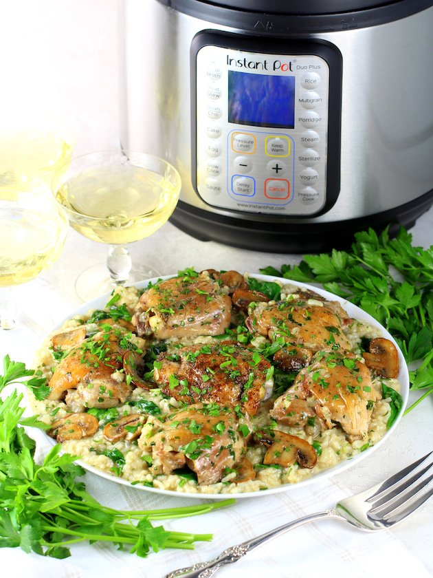 Instant Pot Chicken Thighs With Risotto - Picture & Image - Platter of Chicken with Instant Pot