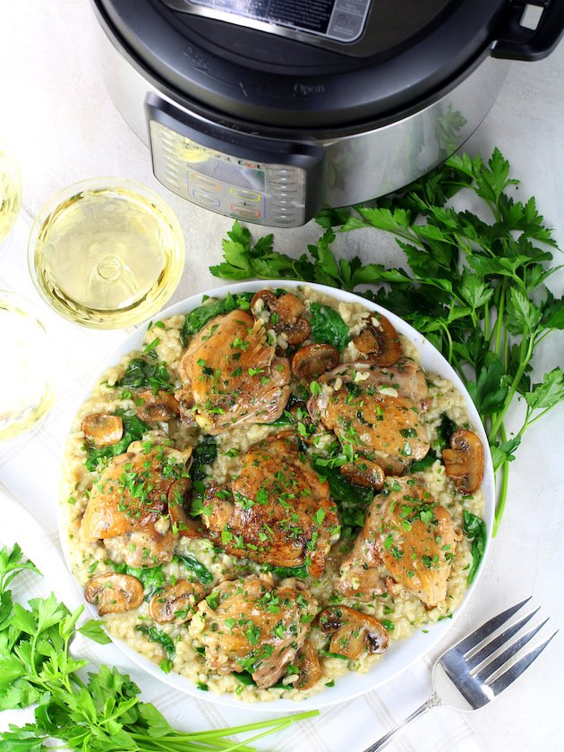 Instant Pot Chicken Thighs With Risotto - Picture & Image - platter of chicken next to instant pot
