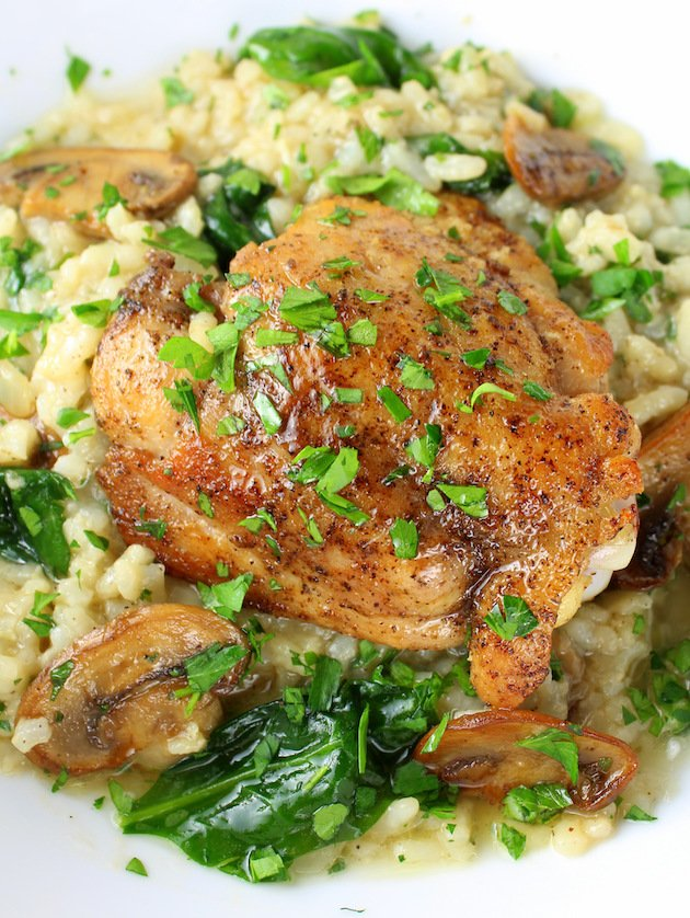 Instant Pot Chicken Thighs With Risotto - Picture & Image - Chicken and risotto on a plate