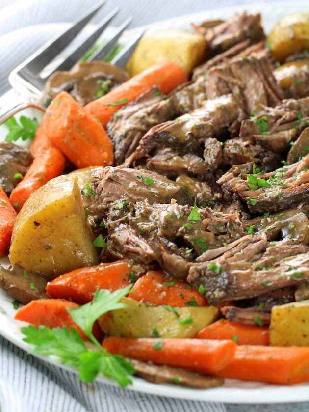 Instant Pot Pot Roast with Veggies and Gravy Recipe & Image: Pot Roast on platter