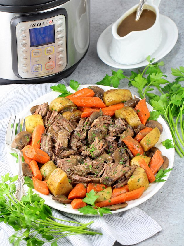 Instant Pot Pot Roast with Veggies and Gravy Recipe & Image