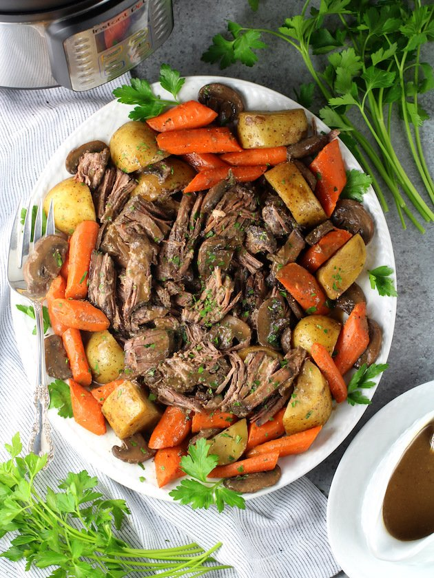 Instant Pot Pot Roast with Veggies and Gravy Recipe & Image: Beef Roast On Platter