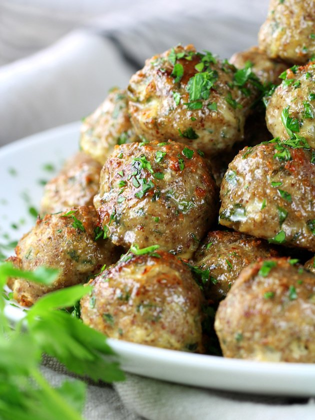 Healthy Meal Prep Baked Turkey Meatballs Stacked on plate