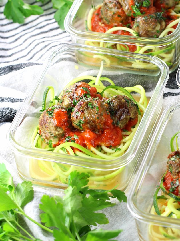 Healthy Meal Prep Baked Turkey Meatballs Recipe & Image: red sauce and zoodles in meal prep dish