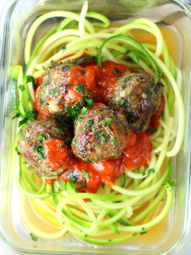 Healthy Meal Prep Baked Turkey Meatballs in meal prep dish