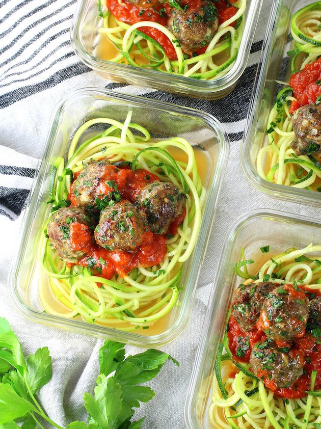Healthy Meal Prep Baked Turkey Meatballs in Meal Prep Containers