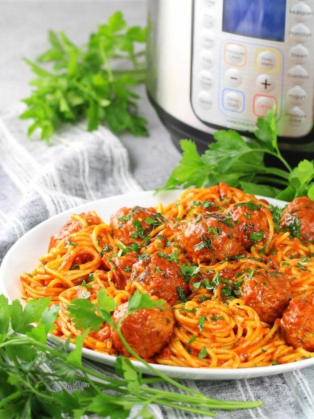 Instant Pot Spaghetti and Turkey Meatballs - on Plate of spaghetti