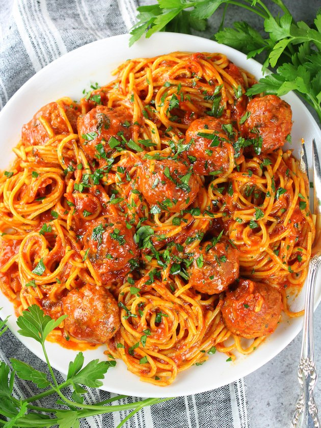 Instant Pot Spaghetti and Turkey Meatballs - Recipe and Image - Plate of spaghetti over top